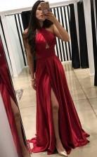 A Line Cross Neck Floor-Length Dark Red Prom Dress with Split  JTA5471