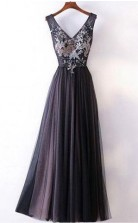 Long Prom Dress Straps V Neck A Line Embroidery Sexy Black Prom Dress  JTA5541