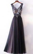 Long Prom Dress Straps V Neck A Line Embroidery Sexy Black Prom Dress  JTA5541