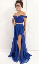Detachable Two Pieces Royal Blue Lace Off Shoulder Prom Dress JTA5571