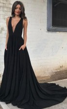 Simple Black Chiffon Backless Deep V Neck A line Long Prom Dress JTA5591
