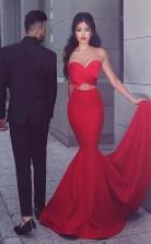 Mermaid Sweetheart Sweep Train Red Satin Prom Evening Dress  JTA5661