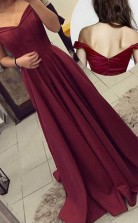 Off-the-Shoulder Long Burgundy Prom Dress Party Evening Gowns  JTA5681