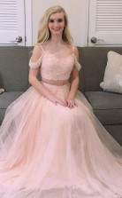 Princess Two Piece Pink Tulle Long Prom Formal Dress  JTA5701