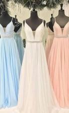 Gorgeous Straps V Neck Light Sky Blue Long Prom Dress  JTA5711