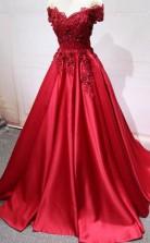 Red Off Shoulder Lace Long A Line Evening Prom Dress  JTA5761