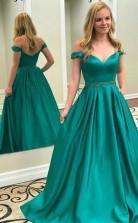 Off Shoulder Emerald Green A Line Long Evening Prom Dress JTA5801