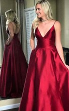 Simple Red Spaghetti Straps A Line Long Evening Prom Dress JTA5811