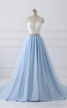 New Style Lace Straps A line Blue Skirt Long Evening Prom Dress JTA5831