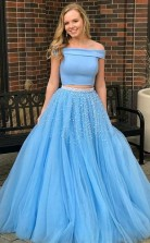 Two Piece Open Back Blue Tulle Prom Dress with Beading JTA5871
