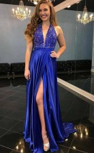 A Line Deep V Neck Sweep Train Royal Blue Satin Split Prom Dress  JTA5881