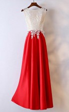 White And Red Lace Long FormalProm Dress For Women JTA5951
