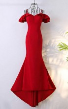 Off Shoulder Classy Long Red Mermaid Prom Dress With Train JTA5961