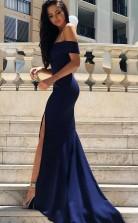 Mermaid Off-the-Shoulder Sweep Train Split-Side Satin Prom Dress JTA6031