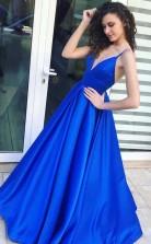A Line Spaghetti Straps Floor-Length Royal Blue Satin Prom Dress JTA6041