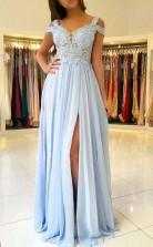 A Line Cold Shoulder Light Blue Chiffon Prom Dress with Appliques JTA6101