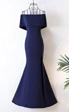 Long Navy Blue Satin Mermaid FormaProm Dress Off The Shoulder JTA6131