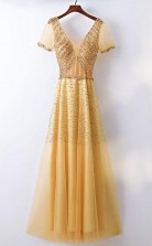 A Line Bling Bling Sparkly Gold Formal Prom Dress With Sleeves JTA6141