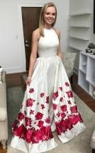 A Line Sweep Train Ivory Printed Satin Prom Dress with Pockets JTA6211