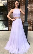 Two Piece Halter Lavender Chiffon Long Prom Dress With Beading JTA6251