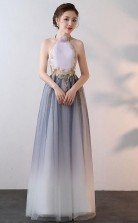 New Style A Line High Neck Tulle Prom Dress With Applique JTA6261