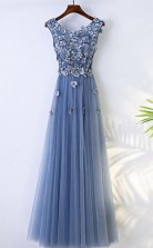 A Line Blue Flowy Prom Dress Long With Flower Petals JTA6311
