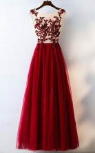 Formal Red Sequined Tulle Prom Dress Long With Lace JTA6321