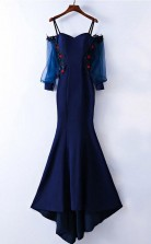 Gorgeous Mermaid Straps Long Sleeves Prom Dress With Applique  JTA6331