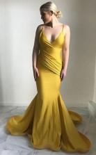 Mermaid Spaghetti Straps Sweep Train Ruched Yellow Satin Prom Dress JTA6361