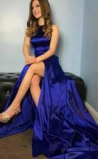 A Line Round Neck Royal Blue Satin Prom Dress with Split Pockets  JTA6401