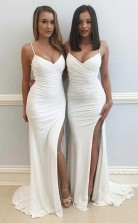 Mermaid Spaghetti Straps White Split Chiffon Sleeveless Prom Dress JTA6421