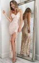 Memraid  Ankle-Length Pearl Pink Sequined Split Prom Dress JTA6431
