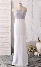 Simple Two-Tone Strapless Across Sheath Prom Dress With back Slit JTA6481