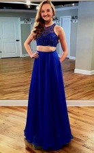 Two Piece Floor-Length Royal Blue Chiffon Prom Dress with Lace Pockets JTA6501