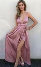 A Line V Neck Criss-Cross Back Blush Satin Prom Dress with Split JTA6511