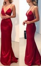 Simple Backless Dark Red Mermaid Long Evening Prom Dress JTA6521