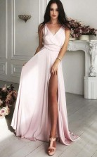 A Line V Neck Sweep Train Pink Satin Prom Dress with Split JTA6571