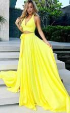 Two Piece V Neck Yellow Satin Prom Party Dress with Split JTA6591