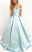 A Line Simple Off Shoulder Satin Long Prom Dress with Pockets JTA6641