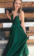 A Line Satin Princess Straps Hunter Long Prom Formal Dress JTA6651