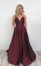 Charming Satin Prom Dress Burgundy Prom Dress V Neck Prom Dress JTA6711