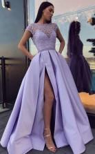 Chic Satin Prom Dress With Split Beading Prom Formal Dress JTA6721