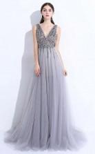 Gray A Line V Neck Tulle Split Prom Evening Dress With Beading  JTA6741