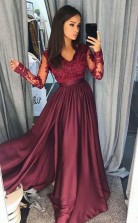 A Line V Neck Long Sleeves Split Burgundy Satin Prom Dress with Appliques JTA6771