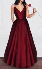 A Line V Neck Spaghetti Strap Burgundy Prom Dress Long Evening Gowns   JTA6791
