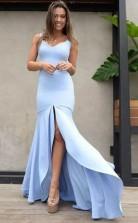 Mermaid Scoop Backless Blue Satin Prom Dress with Split  JTA6801