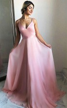 Flowing A Line V Neck Sweep Train Pink Chiffon Prom Party Dress  JTA6821