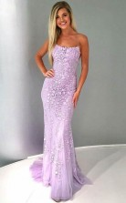 Mermaid Spaghetti Straps Lilac Tulle Prom Evening Dress with Appliques  JTA6831