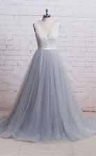 V Neck Ivory Lace Bodice Grey Tulle Skirt Chapel Train Prom Dress  JTA6851