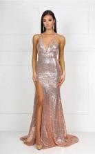 Mermaid Halter V Neck Long Sequined Prom Dress with Split  JTA6861